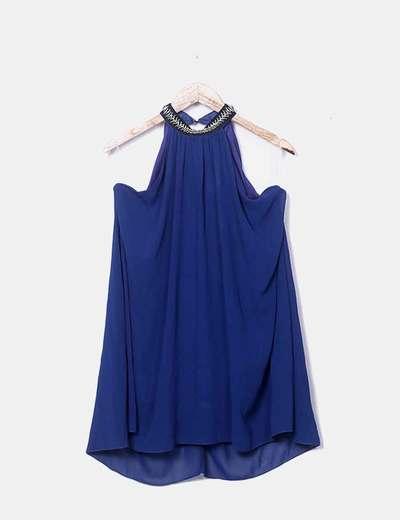 Vestido gasa halter azul marino