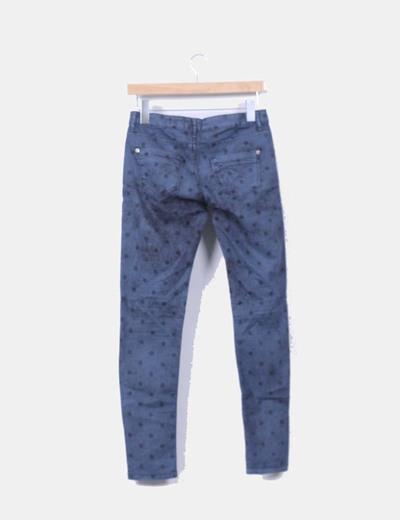 Pantalon denim azul petroleo con topos