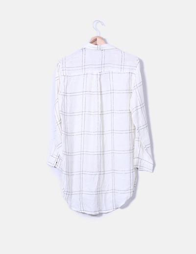 Camisa fluida de cuadros cruda