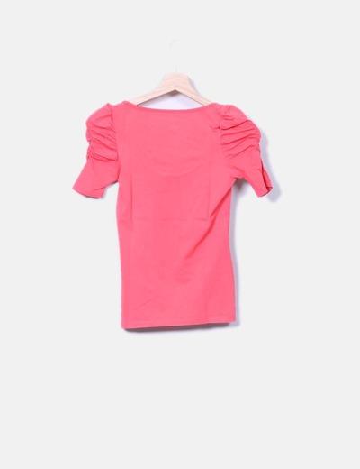 Zara T-shirt rose manche bouffante (réduction 75%) - Micolet 5d0f3ece7aae