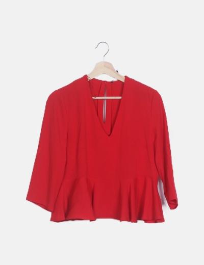 Blusa peplum roja