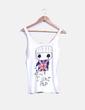 Camiseta tirantes blanca print niña con bandera  Bershka