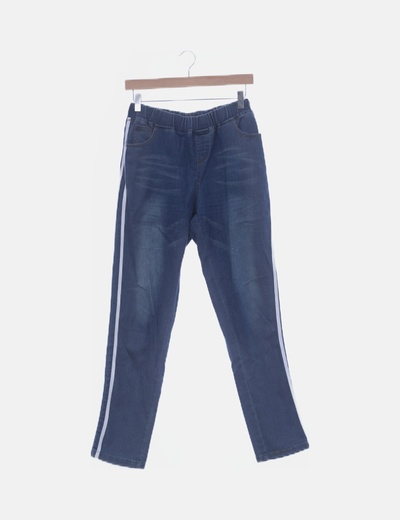 Jegging denim con rayas laterales