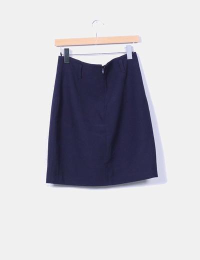 Falda midi azul marino
