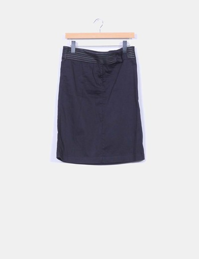 Falda midi negra cintura detalles polipiel Pepe Jeans
