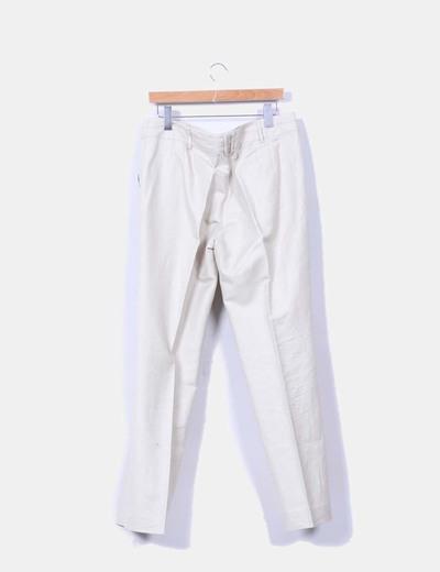 Pantalon beige lino recto