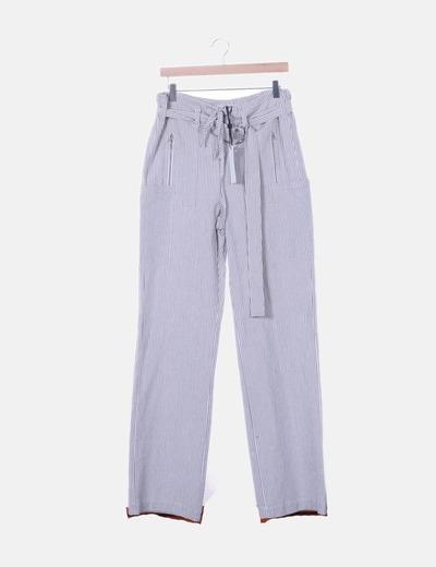 Pantalón recto rayas azules