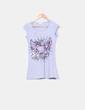 Camiseta print gris con detalles rosas Pimkie