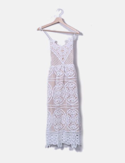 Vestido midi crochet blanco Chicwish