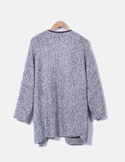 Cardigan de punto gris combinado polipiel