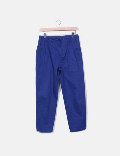 Pantalon de pinzas azul Adolfo Dominguez