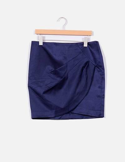 Falda azul marino con pliegues NoName