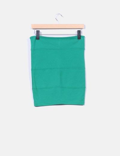 Mini falda verde elastica