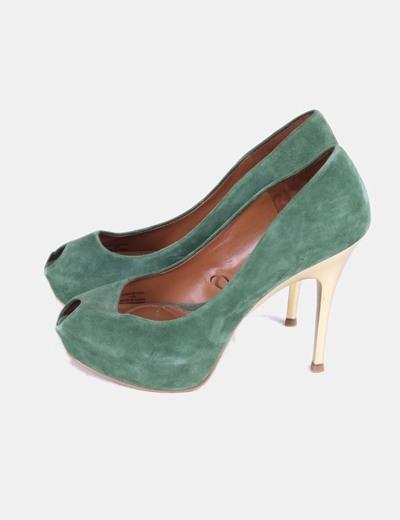 Tacón Verde Metalizado Zapato De Terciopelo drxeWBoC