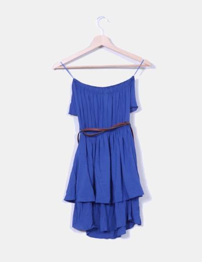 Vestido azul escote volante palabra de honor