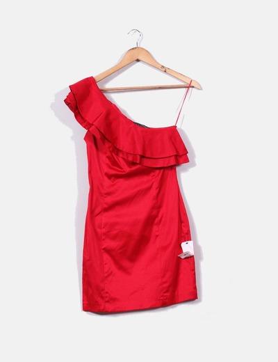 975e6c5888e Suiteblanco Vestido rojo con volante de una manga (descuento 73 ...