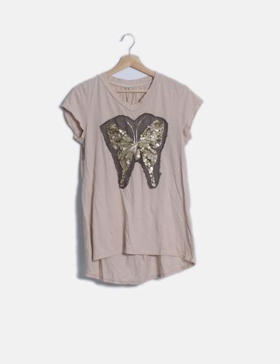 Camiseta beige mariposa con lentejuelas