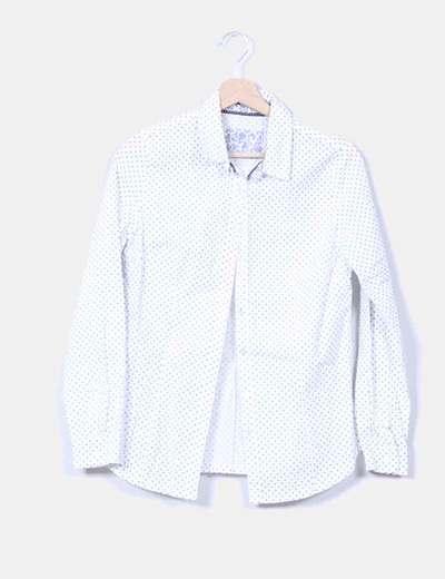 Blusa blanca con topos azul marino NoName