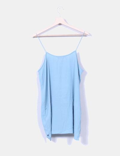 Blusa azul de tirantes con strass