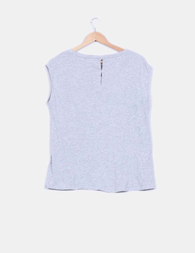 Camiseta gris print navy
