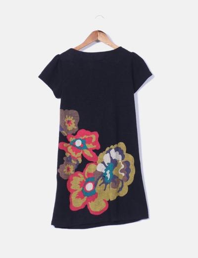 Vestido negro de pano con botones multicolor