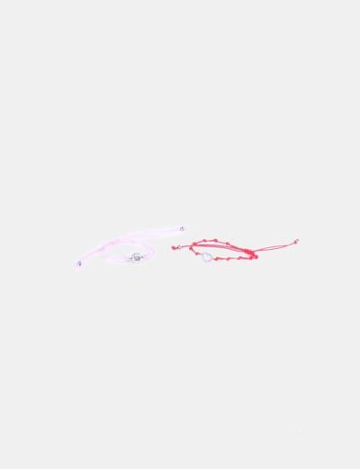 Pulsera roja y rosa print corazones NoName