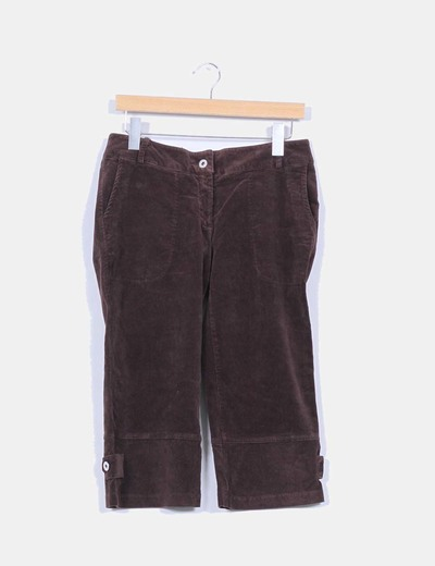 Pantalon pirata de pana marron
