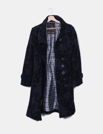 Manteau noir long texture Desigual