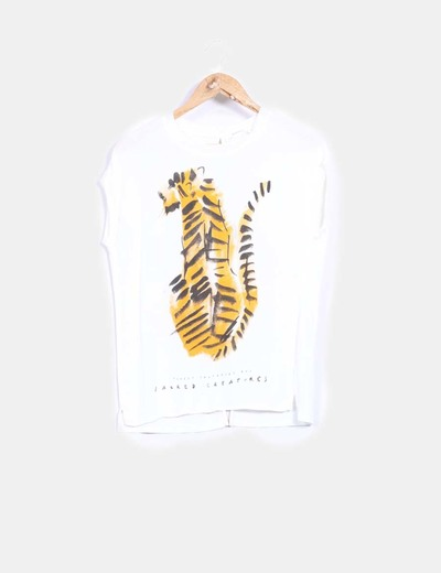Top print tiger abertura espalda