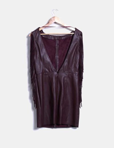 real mejor valorado gama muy codiciada de estilo distintivo Vestido color burdeos efecto polipiel con flecos