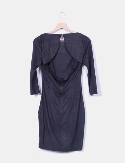 Vestido negro de antelina con flecos