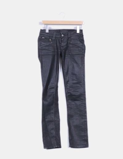 Pantalón negro encerado Pepe Jeans