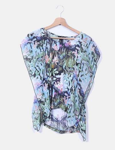Blusa floral estampado multicolor