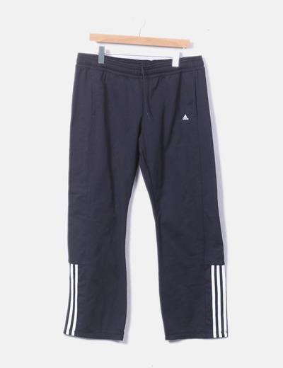 Pantalón deportivo negro raya blanca