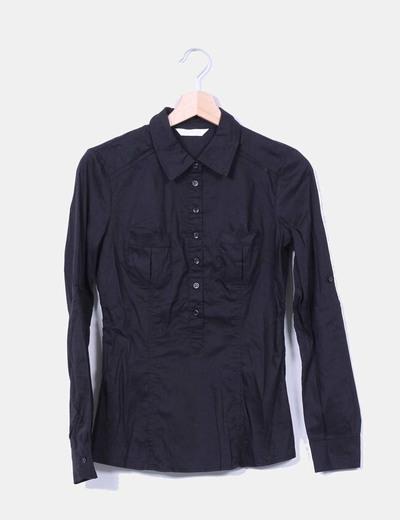 Camisa negra manga larga Promod