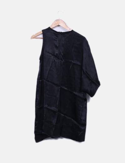 Vestido saten negro asimetrico