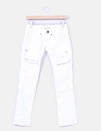 Pantalon denim blanco pitillo