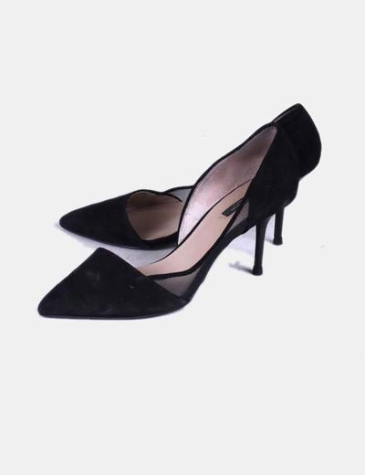 cead9c25 Zara Zapatos de tacón y punta negros ante (descuento 58 %) - Micolet