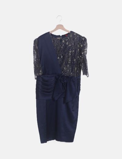 Vestido combinado azul satinado