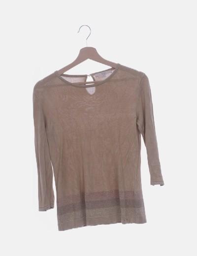 Camiseta tricot beige con glitter