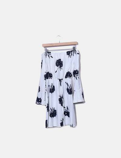 Floral white dress with neckline NoName