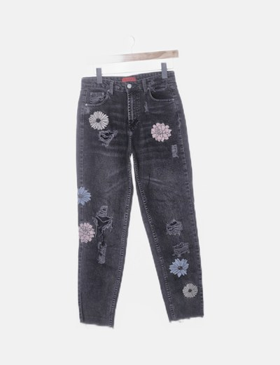 Pantalón gris ripped flores