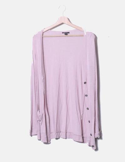 Cárdigan largo rosa