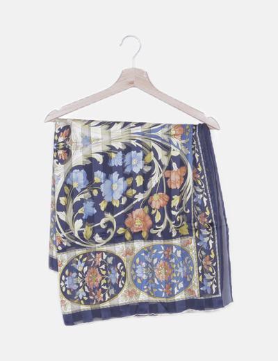 Pañuelo azul marino print floral