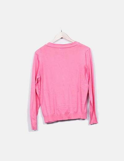 Cardigan rosa cuello pico
