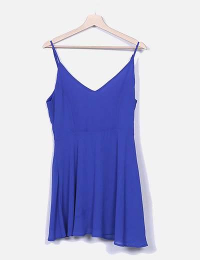 Vestido evasé azul real