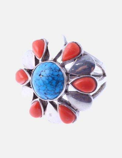 Anillo flor turquesa