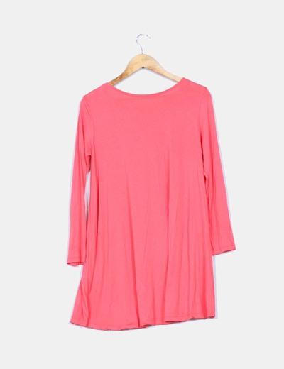 Vestido coral basico manga larga