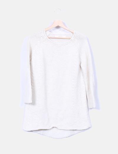 Jersey de punto grueso beige Zara