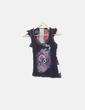 Camiseta negra bordado flor Desigual